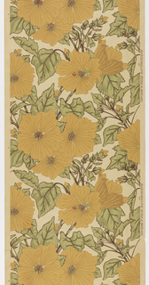 Large-scale yellow flowers with green foliage, printed on white ground.