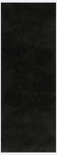 Large-scale black on black thistle design. Printed in a gloss black pigment on a matt black ground.