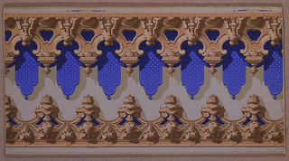 Two borders to be cut out and used to frame panels at top and bottom. They simulate ornamental wood carving, the larger of the two having, in addition, a lambrequin of deep blue.