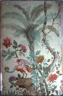 Imitates the Chinese type of scenic paper with flowering trees, and birds. Green ground.