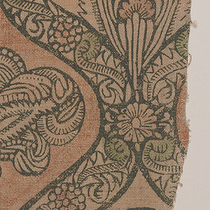 Natural color linen, block-printed in black and soft shades of red and light green, now faded.  Design shows part of a symmetrical ogival frame pattern, in imitation of a woven silk or velvet. Each ogive contains the head of a large, exotic flower. The framing bands are heavily printed in black, and contain interior decoration of flower heads and curving stems.  The repeat is incomplete.
