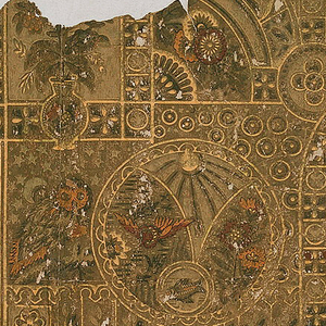 Overlapping geometrical forms in the Japanese style enframing, among other motifs, a vase of flowers, an owl, birds, a fish, sprigs, flowerlets and circles. Lower right corner has adhering layers of wallpaper of a later date.