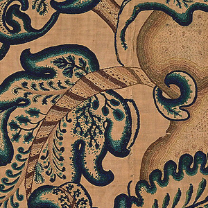 Vertical panel of crewel embroidery with a large-scale pattern of baroque twisted columns on high bases with crossed palms entwined with large-lobed leaves; twining branches and similar leaves fill space between. Embroidered in wool yarns in shades of brown, blue, and blue-green, on an undyed linen and cotton ground.