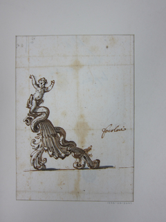"""Vertical rectangle. The design is in small scale. A shell scroll is supported by two leaf scrolls. They are surrounded by a snake biting in the back of a child. Written beside: """"focolare,"""" first in pencil, then in ink. On the reverse, in two different inks, the accounts of the weight with the result """"pessi 36"""" and """"19.80"""""""