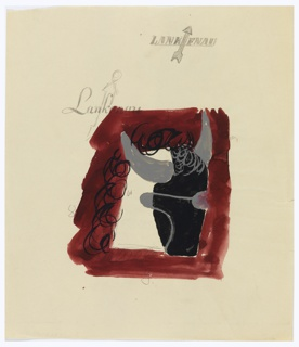 Study for an advertisement, presumably a company called Lankenau. In the center, the head of an ox in black and gray, in right profile, abstractly rendered against a red ground. At top of page, in block letters: LANKENAU [with arrow between K and E]. Below, and intersecting with the image of the ox, in script: Lankenau [with arrow over the letter k]. Various markings in graphite throughout.