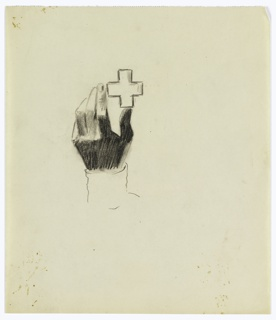 Study of a hand holding a cross, possible for a poster for the Red Cross. At center, a hand holds aloft a cross, balanced between thumb and forefinger. The hand is shaded in black, but the cross is rendered only in outline.