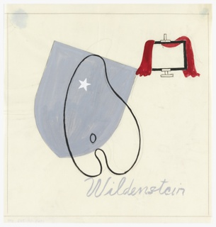 Study for an advertisement, or possibly an exhibition poster for the gallery Wildenstein & Co. At center, a gray shield with a white star in one corner, superimposed by a painter's palette in black outline. At upper right, a blank canvas on easel draped with a red cloth. Below, in gray, script text: Wildenstein. Framing lines in graphite surrounding the image.