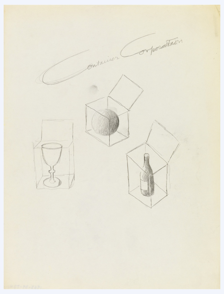 Study for an advertisement for the Container Corporation of America. At center, three boxes with lids raised, shown in outline, containing a goblet, a sphere, and wine bottle [from left to right]. Above, in script text: Container Corporation.