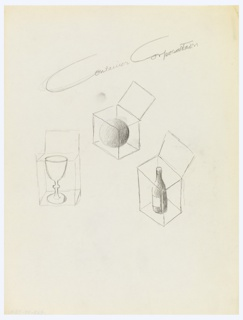 Three boxes with lids raised, shown in outline, containing a sphere, goblet and wine bottle. Above, in graphite: Container Corporation.