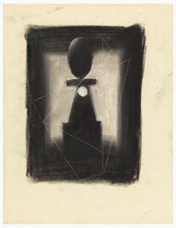 A pedestal with egg-shaped object crowning it is seen against a light ground bordered by black. A hole pierces the pedestal. Triangular lines superimposed on composition.