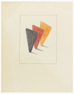 At center, three triangles arranged in a row, with rounded corners, in black, red and orange. The triangles are depicted balancing on one point, casting shadows. Surrounding the composition, rectangular, graphite framing line.