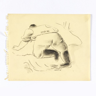 Study of a kneeling figure. At center, a figure dressed in a shirt, pants, and boots, seen from the back, turned half left. The figure leans forward against an embankment, supporting themself with their left hand and left knee.