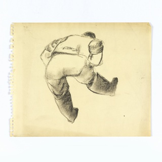 Study of a stooped over figure. At center, a figure dressed in a shirt, pants, and boots, seen from the back, bent over with right leg raised. The figure's arms seem crossed at their chest.