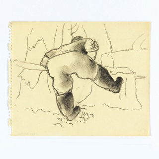 Study of a logger sawing a tree trunk. At center, a figure dressed in a shirt, pants, and boots, seen from the back, bent over with right leg raised against a felled tree's stump. The figure's arms seem to be holding a saw, and is sawing a tree in the background, at left.