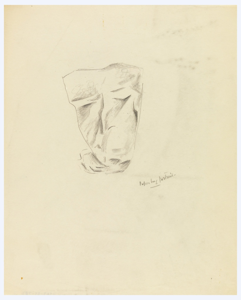 At center, a study of an abstracted face, presumably produced by observing a crumpled paper bag.