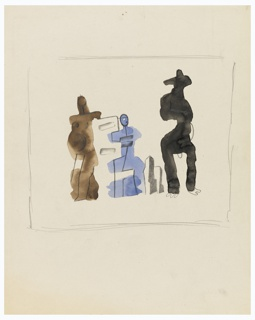 At center, three abstractly rendered figures, set amongst a cubist landscape. The left-most figure is shaded in brown, and has breasts and a large belly indicated in black outline. The centermost figure is shaded in blue, and the right most figure is shaded in black, rendered wearing a wide-brimmed hat. The composition is surrounded with rectangular framing lines.