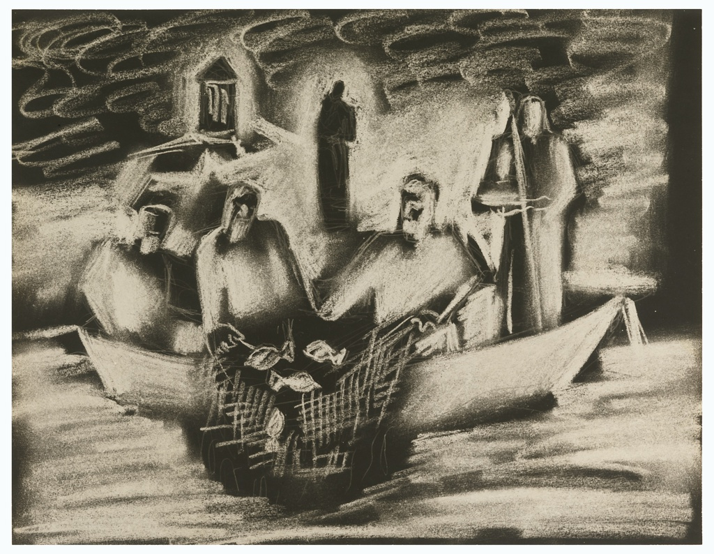 Depiction of a classical Biblical scene, featuring St. Peter, St. Andrew, and an associate drawing in their fish-filled nets into a small boat. In the background, at right, a standing figure (most probably Christ) holding a staff. At left, a classical temple on a promontory and another standing figure.
