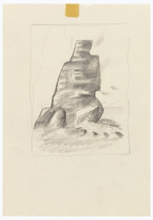Likely a study of an illustration for an edition of Franz Kafka's book The Castle. Abstraction of a small rocky mountain, with a white mountain goat standing at its base. Outline of another mountain on left. Mountains in the distance on the right. Surrounding the composition, rectangular framing lines. At center top, a piece of yellowing tape.