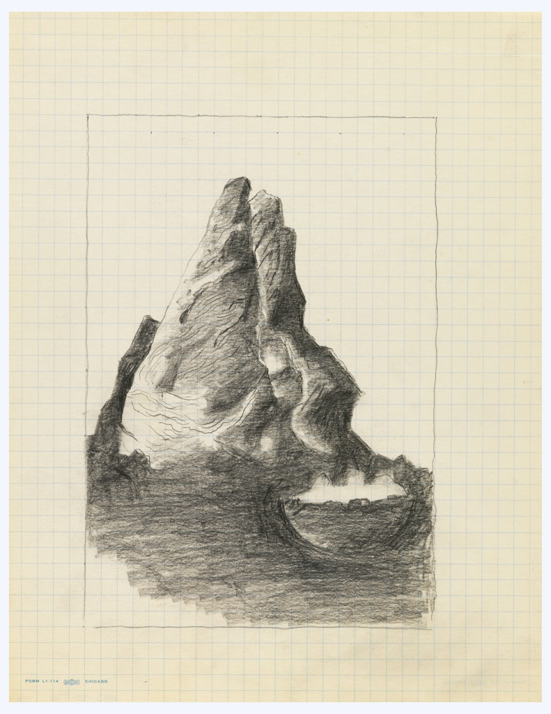 Study of an illustration for an edition of Franz Kafka's book, The Castle. Abstraction of a small rocky mountain, with two peaks. At bottom right, in the foreground, an abstracted white shape. Surrounding the composition, rectangular framing lines.