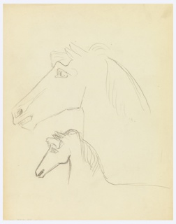 At center, two depictions of horses' heads, with long manes, one larger (above) and one smaller (below), seen in left profile.