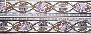 Two borders running side by side, to be cut. On gray ground oval reserves edged with olive stems and containing purple flowers. Black lines and gray ruffled band edging.