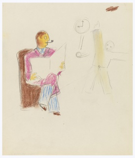 Two studies of figures: one seated, depicted in color, the other standing, depicted in outline. At left, the seated figure, wearing blue striped pajamas and a pink bathrobe over it. The figure is reading a newspaper and smoking a pipe. The figure's legs are crossed and their face turns to the right. The second figure, at right, is depicted standing, pointing to a wall clock to the figure's left.