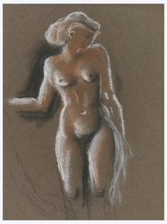 Study of a nude female figure in white. The figure is depicted in three-quarter-length, standing facing frontally, with head turned to the right, and right forearm extended.