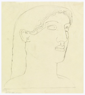 Study of a head in the style of a classic Greek sculpture, rendered in outline. The head is turned in three-quarter profile to the right, and has long wavy hair.