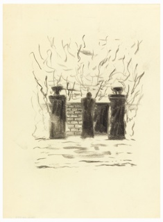 Study of a pair of gateposts with a wall beyond, over which a figure, seen from the back, gazes. Vegetation depicted in the background, roughly rendered.
