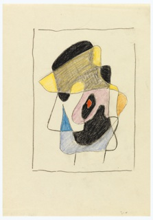 Study of an abstract head, shown in left profile, and composed of various shapes in varied colors. Surrounding the composition, black lines to indicate framing.