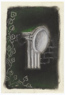 Study for an abstract composition featuring a column. At center, a fluted column in white with an oval form superimposed at top, and a fragment of a stone wall at left. Along left edge and part of bottom edge, leafy vine tendrils in white outline. Image is set against a black and green ground.