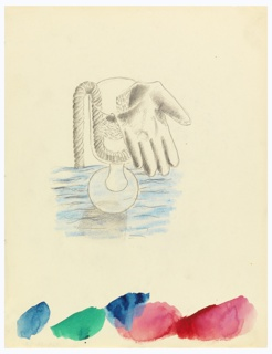 Study for a surrealist composition. At center, a goblet stands on the surface of water (shaded in blue). From the goblet hang a length of rope and a glove on the palm of which are the points of a compass. Along bottom edge of the page, blue, green and red watercolor samples. Circular hole punches along left and top edge.