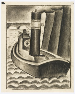 Study of a London tug boat. Rendered in black, a small steam boat is seen from the stern near a cluster of pilings on the left. Steam rises out of the top of the boat. The silhouette of a figure wearing a hat can be seen at the bow of the boat. In the background, the arches of a bridge. Water rendered in regular scallop pattern. The image is surrounded by rectangular framing lines.