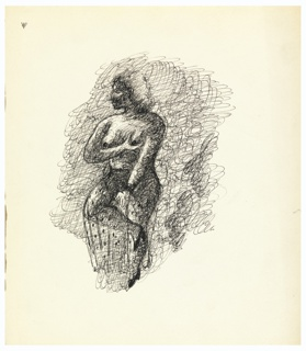 Study of a standing female figure wearing only a sheer, polka-dotted skirt and high heels. The figure balances on their right leg, with the left leg crossed over the right knee. While the figure's right arm is kept straight, the left arm is bent and grasps the figure's own left breast. The figure's head is turned in left profile. Behind, the ground is composed of swirling and cross-hatched black lines.