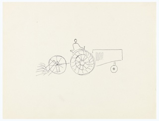 Study of a farm tractor, seen in right profile, hauling a two-wheeled hay rake. A driver, abstractly rendered, is seated in the tractor driving the vehicle.