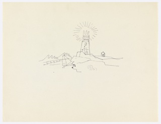 Study of lighthouse on a beach, rendered in black line. At center, an abstractly rendered lighthouse rising out of a rocky bluff. At left, ocean waves and a beached sailboat with an anchor in the sand. On the horizon at right, a small building with a pointed roof.