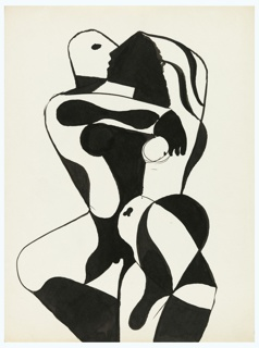 Study for a cubistic representation of two figures in the midst of an embrace, shown three-quarter length. The figure's bodies entertwine and are depicted in overlapping black and white amorphic shapes.