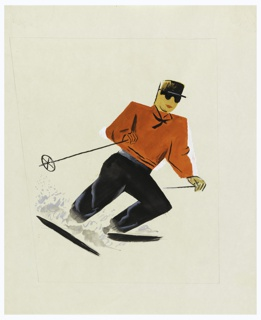 At center, a skier seen descending a slope toward the right. holding black poles in their hands. The skiier wears a red sweater, black pants, a brown hat, and dark glasses.