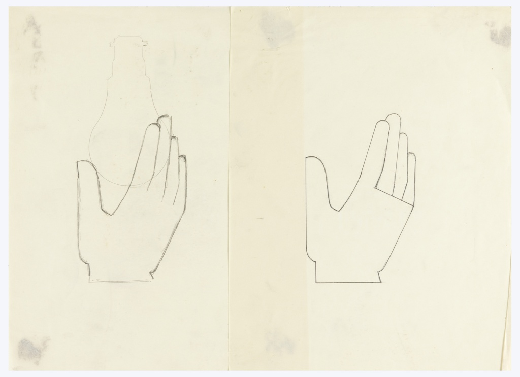 Study of a semi-abstract hand in outline with fingers extending upwards. A second work (1963-39-946) is attached to the left.
