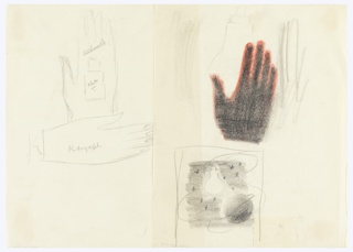 Study for a motif with two hands. One hand is positioned vertically and is inscribed with: Silhouette. Superimposed on this hand, an outline of a bottle, upon which is inscribed: photo. The other hand, positioned horizontally, inscribed with: Photograph. A second work (1963-39-947) is attahced to the right.