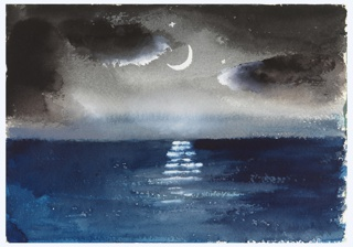 Study of a seascape at night. A calm sea with a crescent moon, reflecting on the water below, surrounded by clouds.
