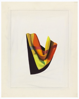 Study of a draped cloth (perhaps a scarf) arranged in the shape of a V, as if draped around a person's shoulders.  The cloth is brightly colored in sections of oranges, greens, and reds. Surrounding the image, framing lines in graphite.