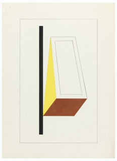 Study of a composition made up of a vertical black line (at left) and three-dimensional triangle with a yellow side, brown base, and uncolored front. Surrounding image, a framing line in graphite.