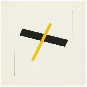 Study of an abstract composition. At center, a yellow rectangular bar crosses diagonally a black bar of thicker proportion. Surrounding the image, framing lines in graphite.