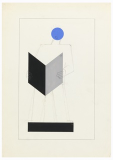 Standing abstract figure with a blue head, wearing a crown in graphite, holding an open book before him in black and gray. Figure in outline; head, back and platform in paint.