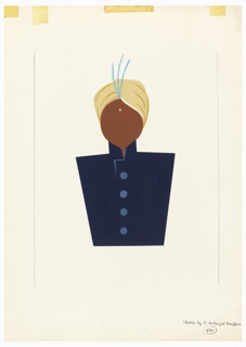 Abstract figure of half-length figure seen frontally, wearing a yellow turban with three blue plumes at the front, a white dot at the center of the figure's brow (the rest of the figure's face is featureless) and a blue button-up coat with a standing collar. Surrounding the image, framing lines in graphite. Across top edge of page, yellow tape stains.