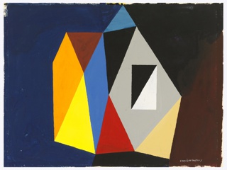 Design for a brightly colored cubistic composition, with a cluster of geometric rainbow-colored shapes at center against a blue, black, and brown background.