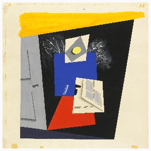 Design for a composition showing a gray door at left, with an abstracted standing figure composed of yellow, blue, red and white cubistic shapes, seemingly reading a newspaper at center. Behind the figure, the branches of a partially-visible bare tree reach around the figure against a black background.