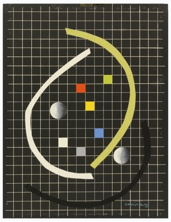 Design for an abstract composition set against a white grid on a black ground. At center, six square of the grid shaded in a different color and two spheres resembling full moons. Three archs in white (at left), yellow (at right) and black (at bottom) surrounding the colored squares and moons.