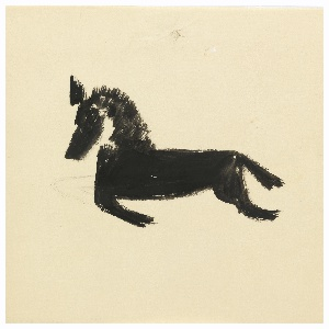 Study of a jumping horse, seen in left profile, rendered abstractly in black.